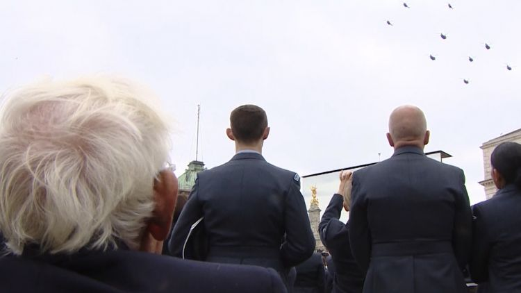Past and present RAF airmen watch centenary flypast