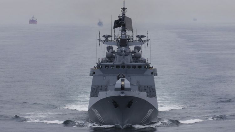 Russian frigate Admiral Makarov sails through English Channel