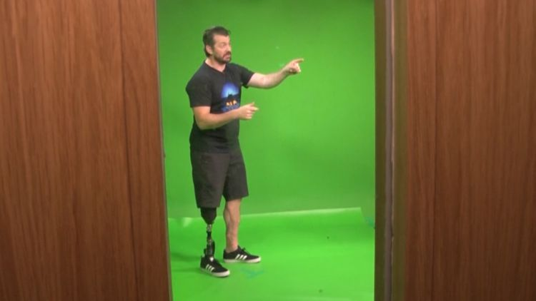 Cassidy Little in green screen studio