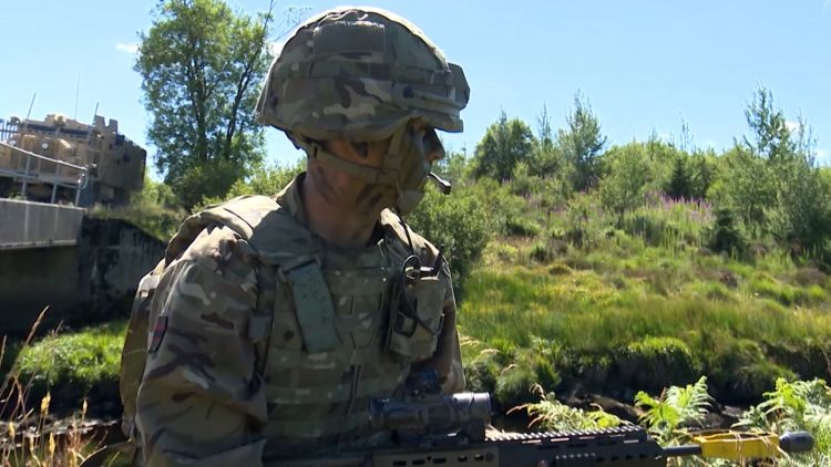 3 RIFLES soldier and Mastiff armoured vehicle on Ex Northern Skirmish
