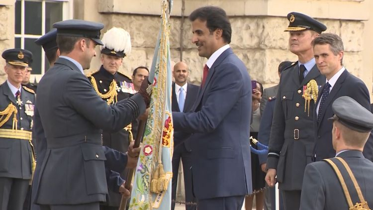 Emir of Qatar at standing up ceremony for joint UK-Qatar Typhoon Squadron