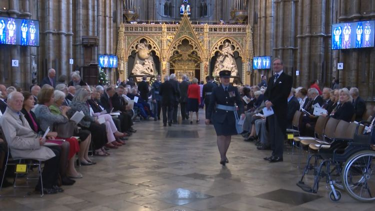 Past and present RAF personnel at Battle of Britain service at Westminster Abbey