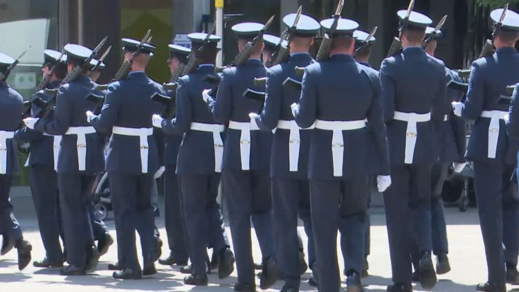 Service personnel from RAF Halton in Freedom Parade through Aylesbury