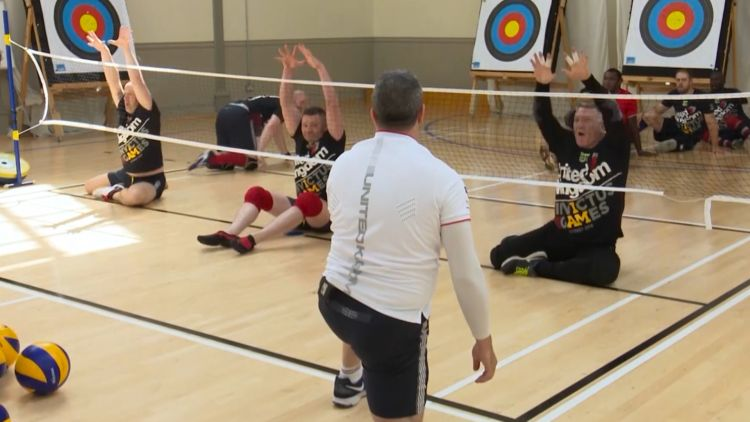 UK Invictus Games sitting volleyball training