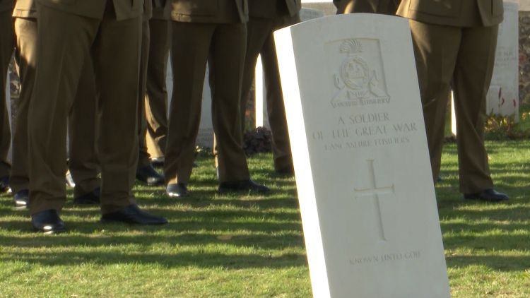 Gravestone for Unknown Soldier at Tyne Cot Cemetery near Ypres.