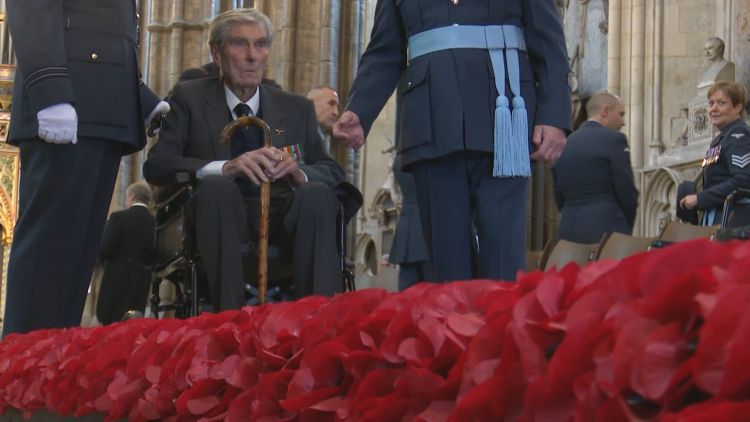 Past and present RAF personnel Battle of Britain service at Westminster Abbey