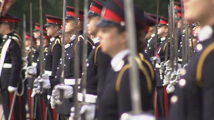 Officer Cadets lined up at Sandhurst 090819 CREDIT BFBS
