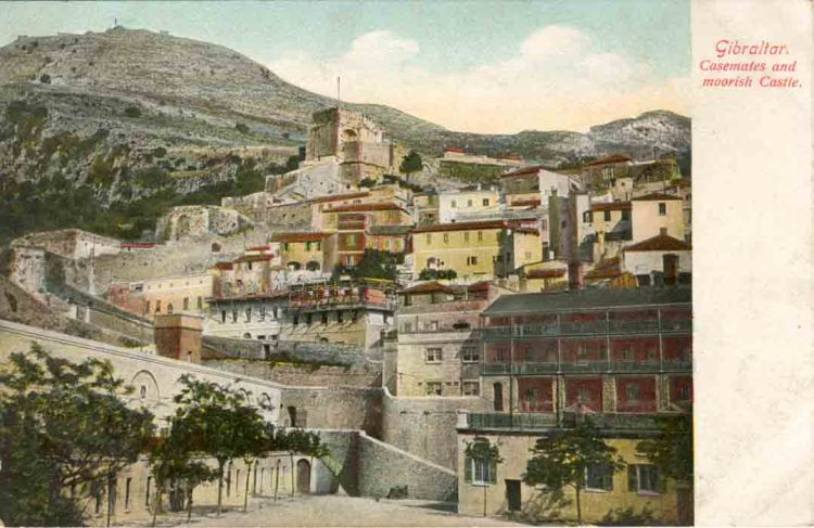 Old postcard of Gibraltar depicting Grand Casemates Square and the Moorish Castle from 1909 probably not changed much