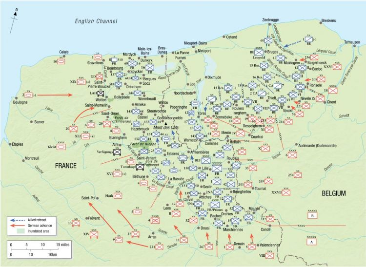 Opposing Forces around the Dunkirk-Lille pocket, 1800hrs 26 May