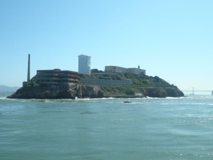 Alcatraz sits on a island in the middle of San Francisco Bay. Credit: Jwharton