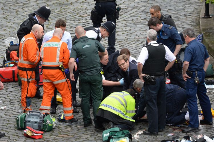 Tobias Ellwood Giving Aid At Westminster Attack Scene