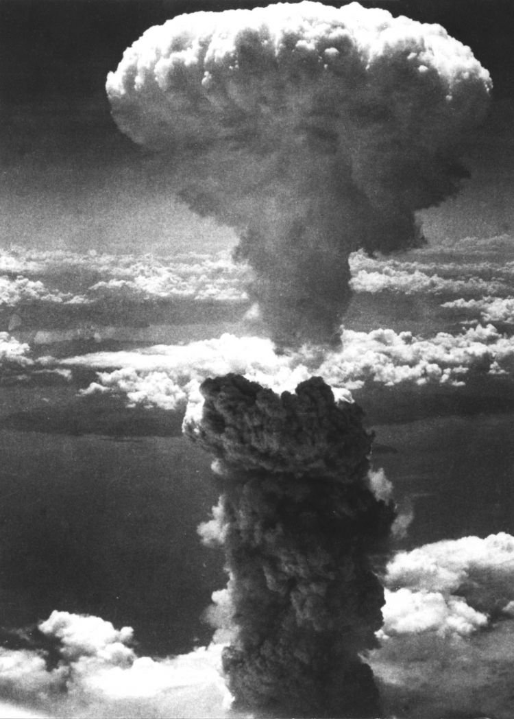 A mushroom cloud rises after the second atomic bomb was dropped on Nagasaki, August 9, 1945. Credit: UPI/UPI/PA Images