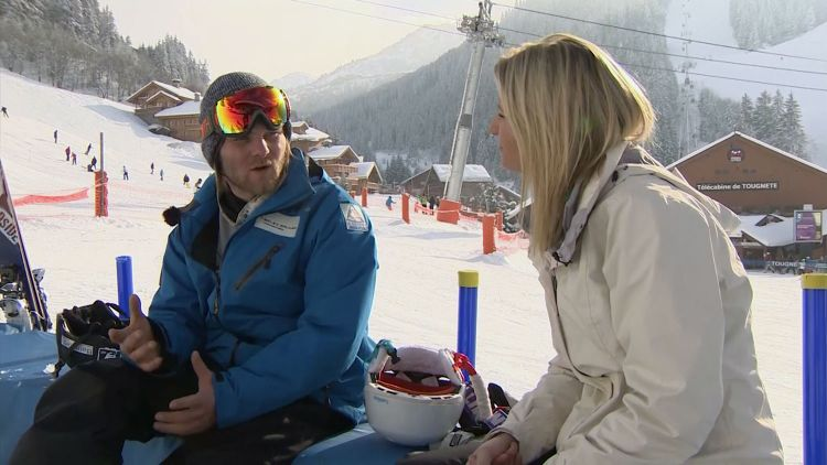 Paralympic amputee snowboarder Owen Pick speaking to Forces Network