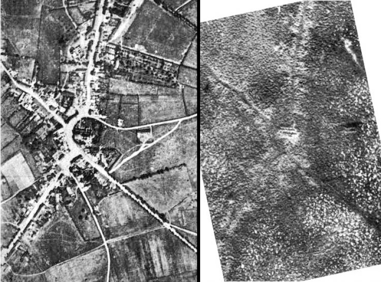 Passchendaele before and after it was destroyed by shelling