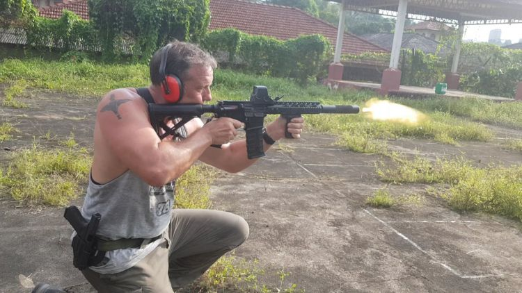 Paul Biddis doing weapon training CREDIT Paul Biddis