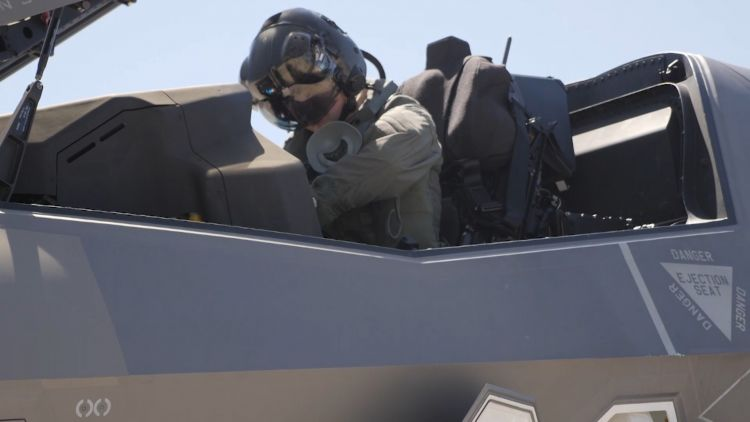 Pilot prepares to fly F35 back to the UK 020719 CREDIT BFBS.jpg