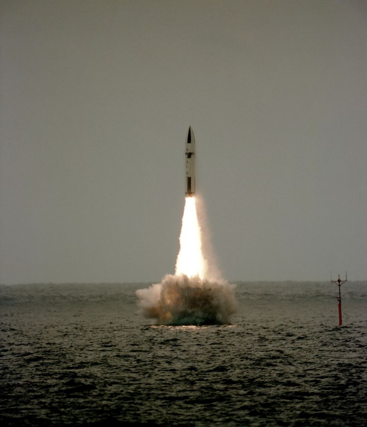 Polaris missile launch from HMS Revenge, in 1983