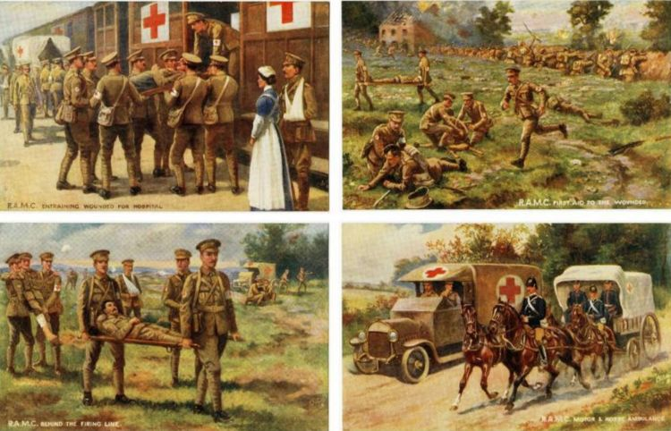A collection of RAMC (Royal Army Medical Corps) postcards depicting events around the time of the retreat from Mons (images from worldwar1postcards.com)