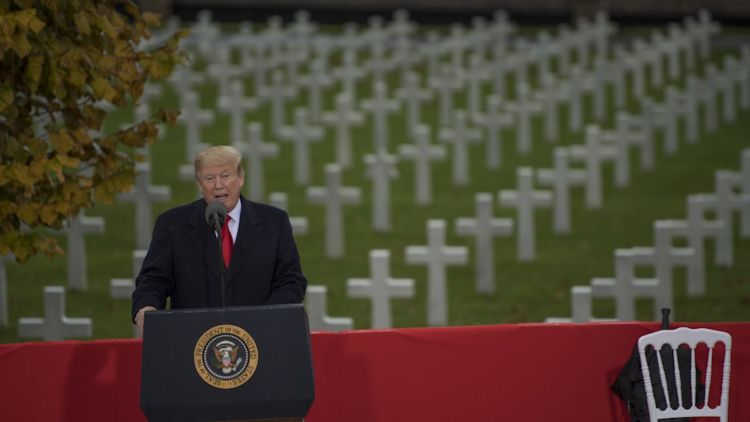 President Donald J. Trump visits Suresnes American Cemetery to honor the centennial of Armistice Day, Paris, France 111118 CREDIT US Department of Defense.jpg