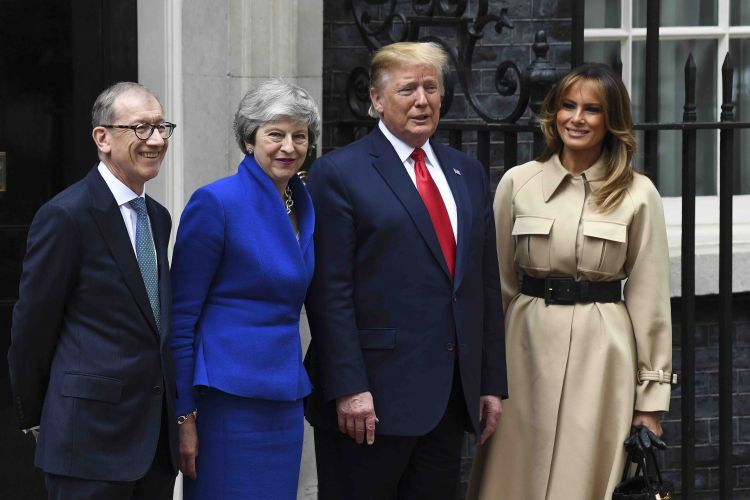 President Trump with Philip May, Prime Minister Theresa May, and First Lady Melania Trump on a state visit to the UK
