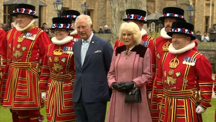 Prince Charles and Camilla with Yeoman Warders 130220 CREDIT BFBS