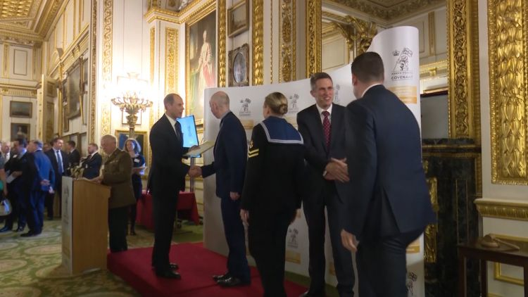 Prince Edward and Gavin Williamson at Emplyer Recognition Scheme Award ceremony 131118 CREDIT BFBS.jpg
