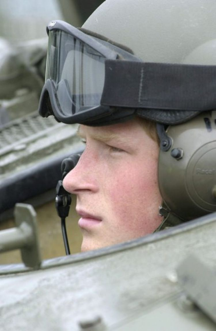 Prince Harry during Spartan armoured vehicle training at Bovington