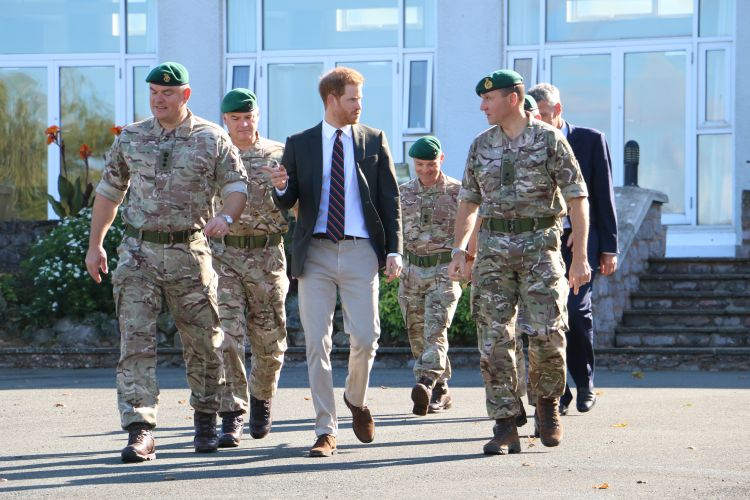 Prince Harry meeting Royal Marines Recruits