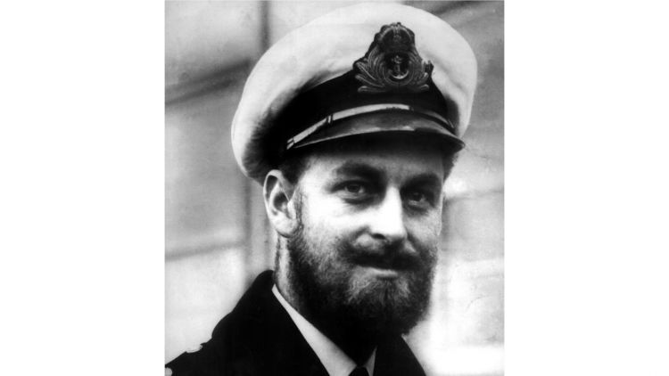 Prince Philip with beard in Navy uniform