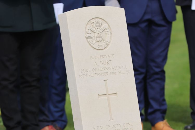 Private Burt's headstone 150419 CREDIT Crown Copyright