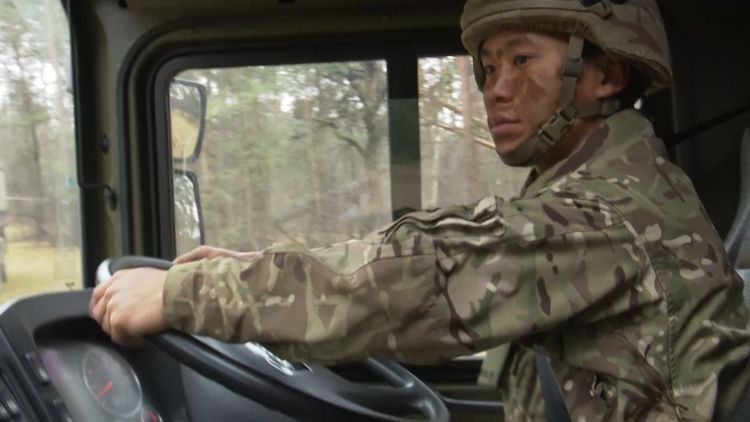 Private Saroj Gurung as he drives the vehicle 180219 CREDIT BFBS