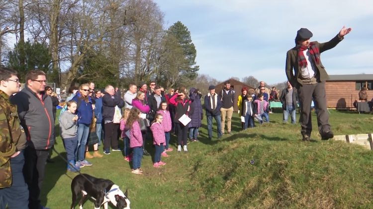 Professor Tony Pollard of Glasgow University tells visitors to Pollock Park about life in the trenches 250219 CREDIT BFBS.jpg