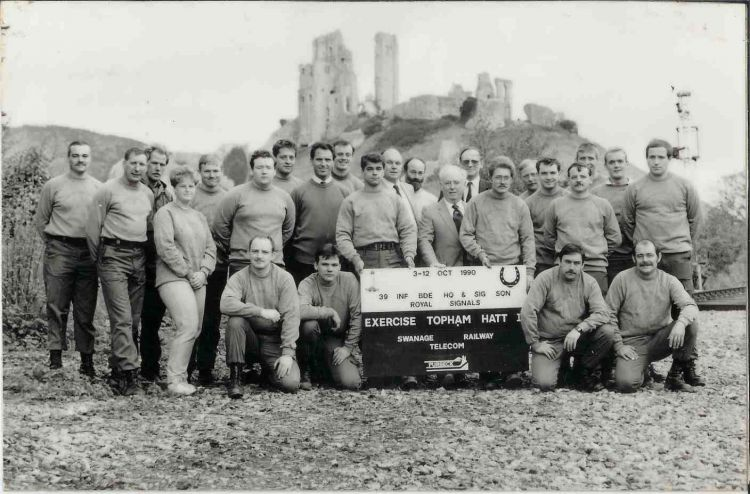 Blandford Camp's Royal Corps of Signals 1990 Swanage Railway Line volunteer team