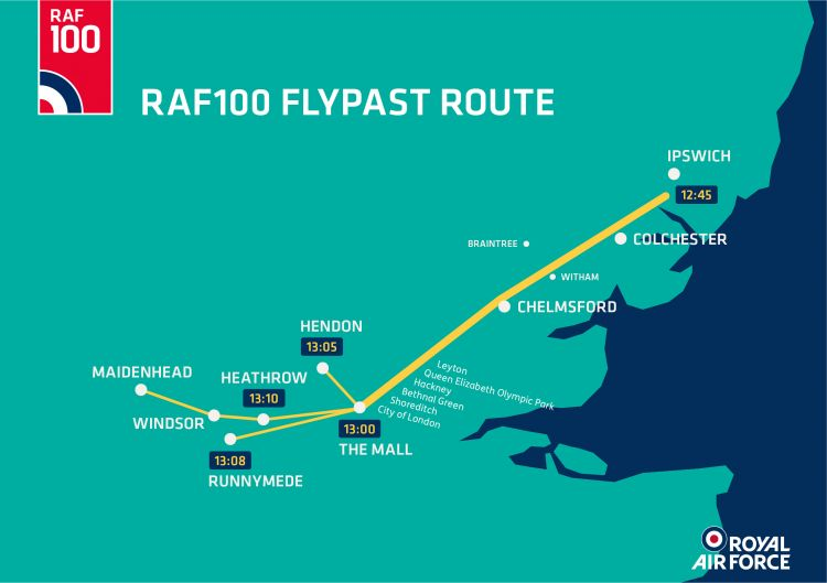 RAF 100 Flypast Route Map 2018 CREDIT RAF