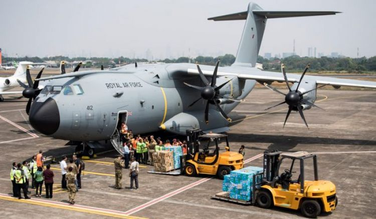 The RAF has previously deployed the A400M Atlas to deliver aid to earthquake and tsunami in Indonesia