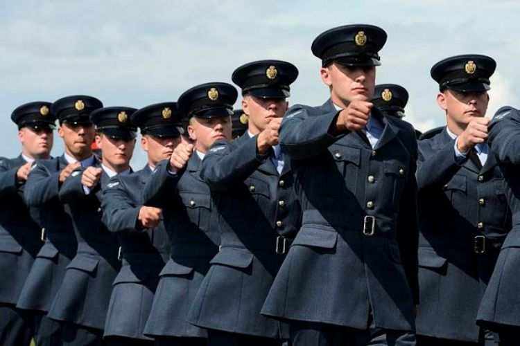 RAF personnel marching