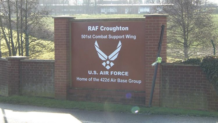 RAF CROUGHTON FRONT GATE Credit BFBS 200120