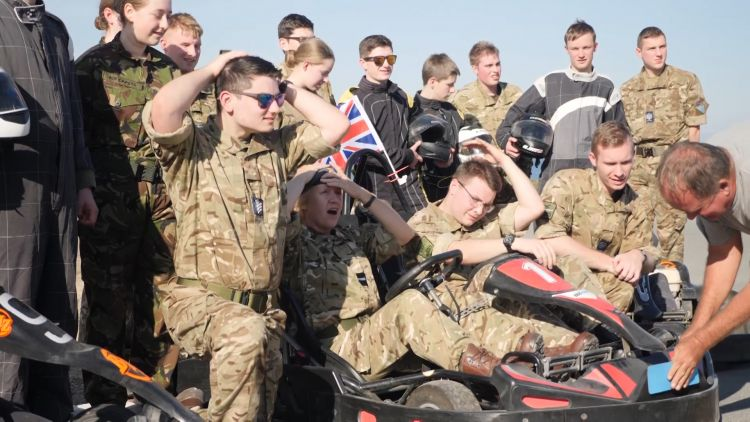 RAF Cadets pose for a photo after Go Karting 021118 CREDIT BFBS