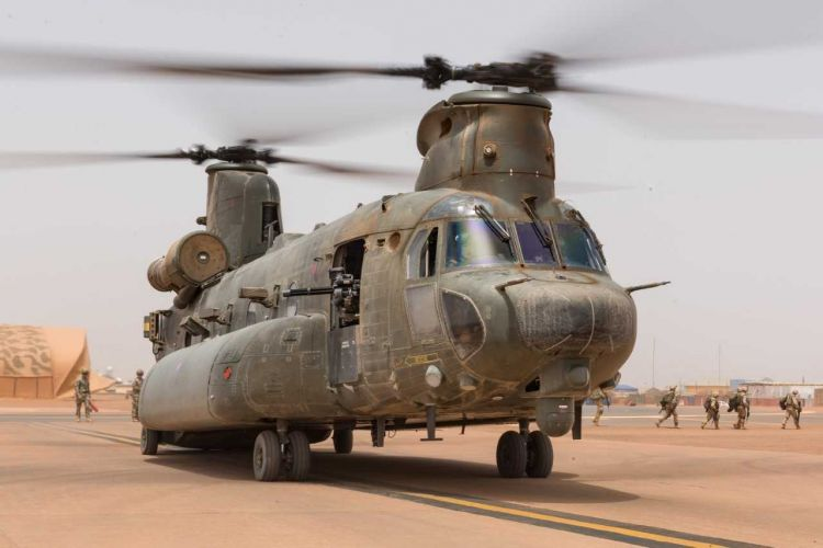 Three RAF Chinooks are currently based in Mali as part of Operation Newcombe (Picture: MOD/Crown Copyright).