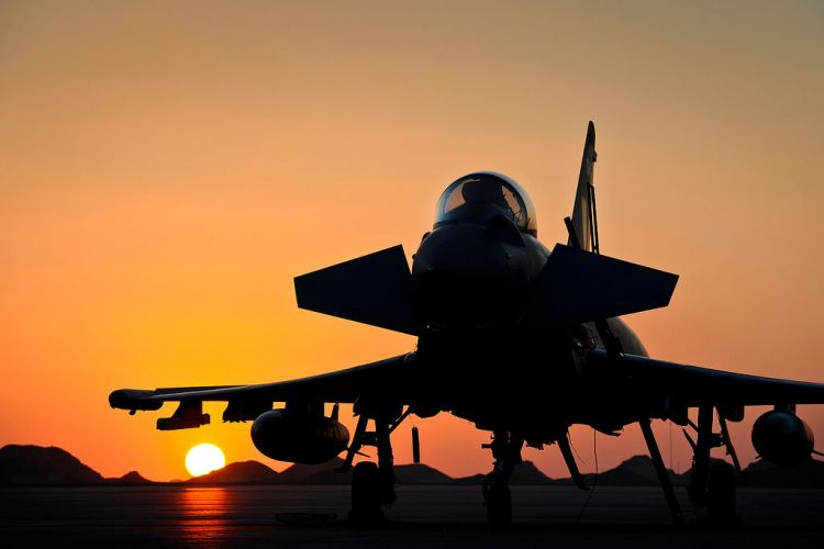 RAF Typhoon Middle East sunset