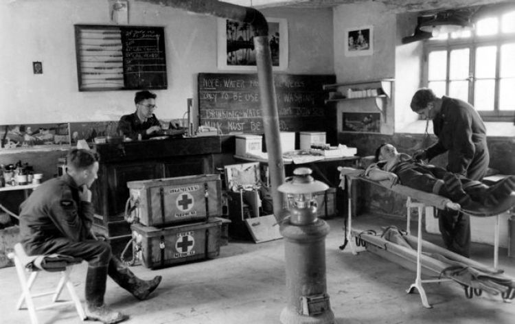 RAF medical post established in the schoolhouse at Martragny, Normandy