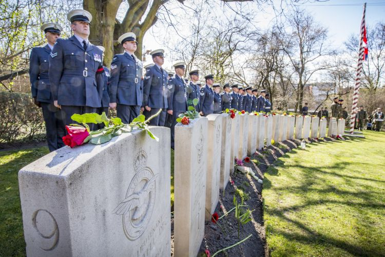 RAF personnel parade at the Old Garrison Cemetery in Poznan where 48 escapees are buried (Picture: MOD).