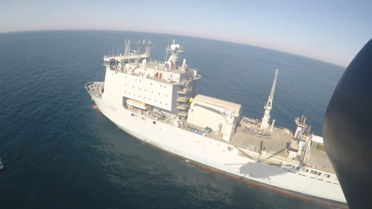 Aerial view of RFA Cardigan Bay in the Gulf on Exercise Artemis Trident.