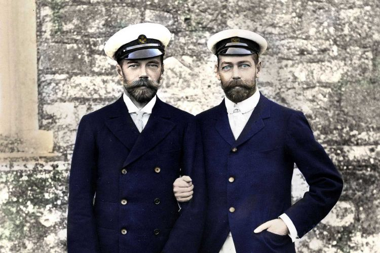 Tsar Nicholas II of Russia with his cousin King George V