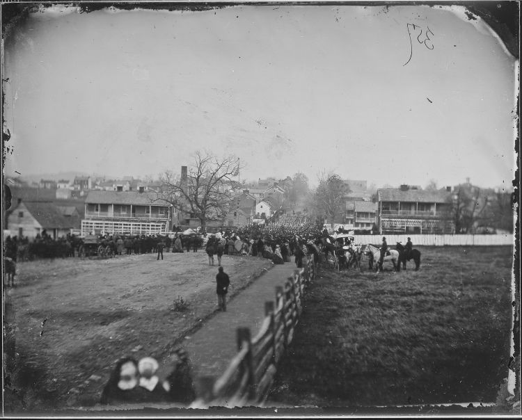 Soldiers marching into Gettysburg, a scene perhaps similar to that which greeted citizens of the town on July 1, 1863