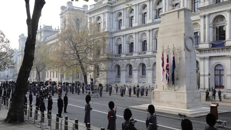 Remembrance Sunday service at the Cenotaph, in Whitehall, London wide shot with troops 081120 CREDIT PA