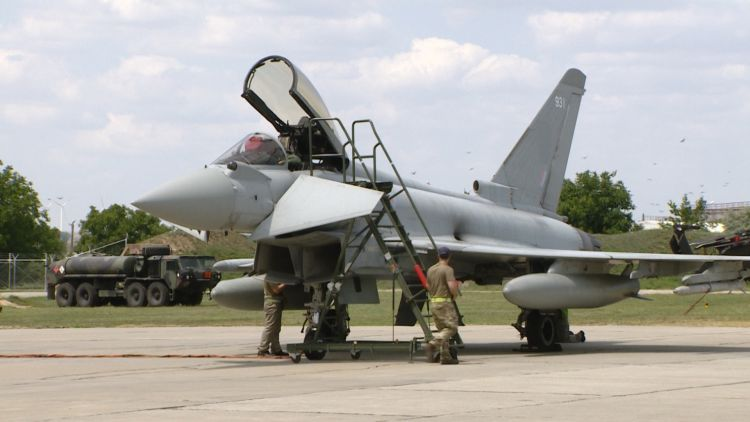 RAF Typhoon in Romania on NATO's enhanced Air Policing (eAP) mission.