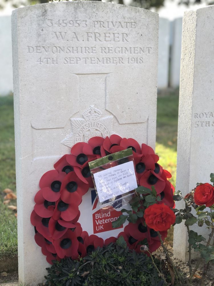 Ron Freer's father W.A. Freer's grave at Dernancourt Communal Cemetary in the Somme CREDIT Blind Veterans UK