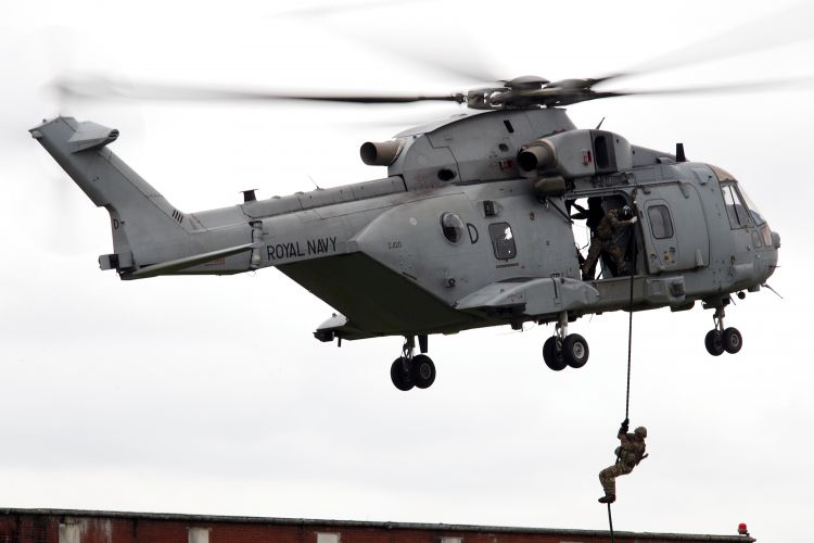 Royal Marines Merlin carrying personnel on rope during Commando Helicopter Force on Exercise Merlin Storm JULY 2020 CREDIT ROYAL NAVY