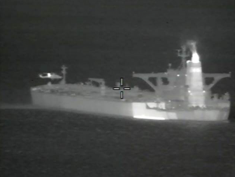 Royal Marines boarded Grace 1 oil tanker off the coast of Gibraltar last week (Picture: MOD).